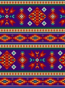 Tucson Southwest Aztec Native American Beaded Purple Cotton Fabric