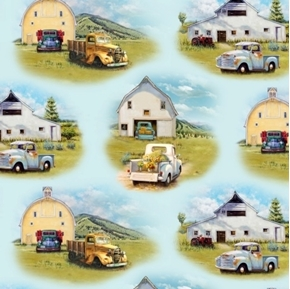 Vintage Trucks Old Pick-up Truck and Barn Vignettes Blue Cotton Fabric