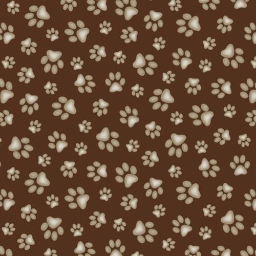 Adorable Pets Paw Print Dog Paw Prints Brown Cotton Fabric