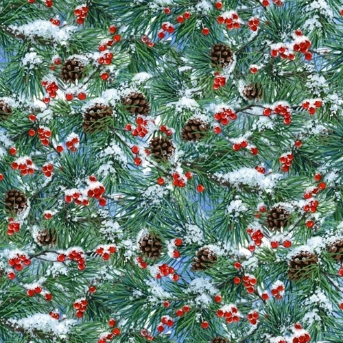 Landscape Medley Pine Boughs Pine Cones Berries Snow Cotton Fabric