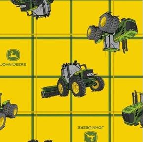 John Deere Square Plaid Tractors Combine Tractor Yellow Cotton Fabric