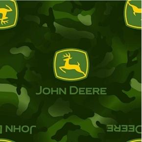 John Deere JD Camo Logo Camouflage Green Farm Cotton Fabric