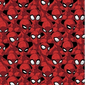 Marvel Spider Sense Spiderman Heads Packed Black Cotton Fabric