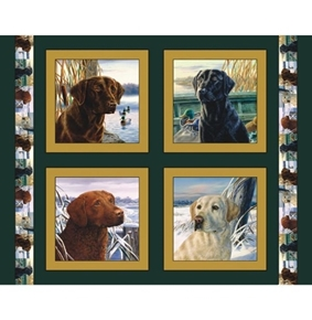 Labrador Retriever Dogs Digital Cotton Fabric Pillow Panel Set