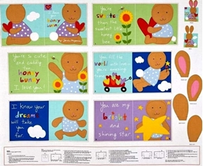 Huggable and Loveable I Love You Honey Bunny Fabric Book Craft Panel