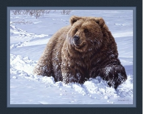Heavy Going Grizzly Bear in Snow John Seery-Lester Cotton Fabric Panel