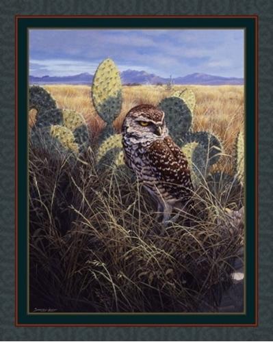 Burrowing Owl Grassland Cactus John Seery-Lester Cotton Fabric Panel