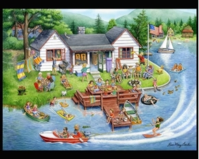 Lake House Family Vacation Rose Mary Berlin Large Cotton Fabric Panel