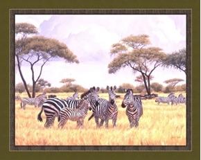 Extended Family Zebras on Savanna Lindsey Scott Cotton Fabric Panel