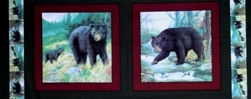 Black Bears Bear Family 18x44 Digital Cotton Fabric Pillow Panel Set