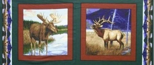Big Game Moose and Elk 18x44 Digital Cotton Fabric Pillow Panel Set
