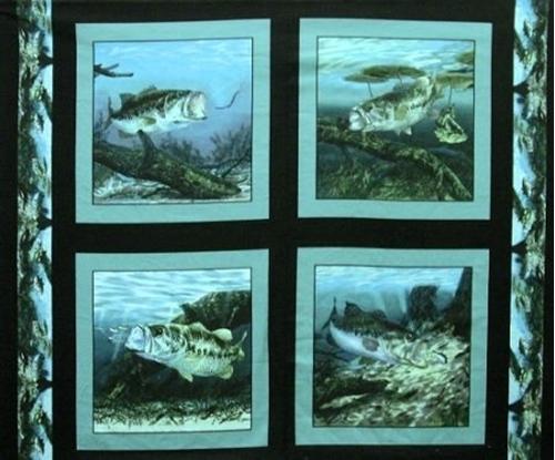 Lunker Large Mouth Bass Fish Digital Cotton Fabric Pillow Panel Set