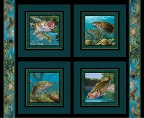 Stillwater Bass Fish Mark Susinno Digital Fabric Pillow Panel Set