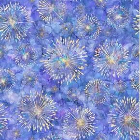 Botanica Sunburst Iris Purple Batik Digitally Printed Cotton Fabric