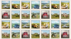 Vintage Trucks Old Farm Pick-up Truck 24x44 Cotton Fabric Panel