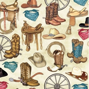Unbridled Western Motifs Cowboy Boots Hats Saddles Cream Cotton Fabric