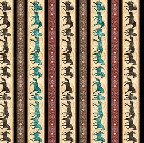 Unbridled Horse Decorative Stripe Western Horse Black Cotton Fabric