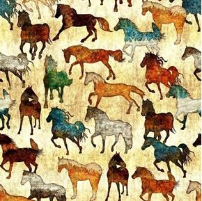 Unbridled Horses Batik Western Horse Amber Cotton Fabric