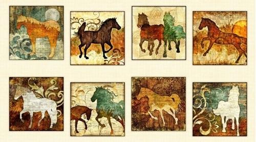 Unbridled Horse Picture Patch Batik Western 24x44 Cotton Fabric Panel