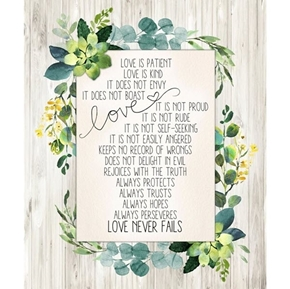Love Never Fails Corinthians 13 Wedding Verse Cotton Fabric Panel