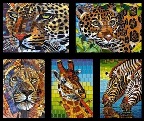 Glass Menagerie Mosaic African Animals Picture Patches Fabric Panel