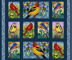 Glass Menagerie Mosaic Song Birds Picture Patches Cotton Fabric Panel