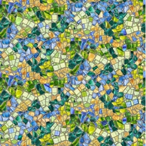 Glass Menagerie Mosaic Stained Glass Blue Green Cotton Fabric