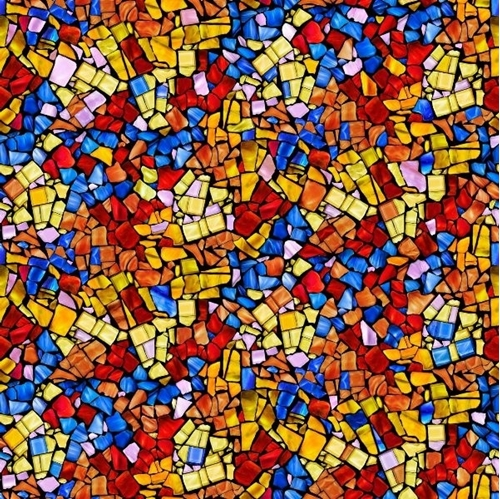 Glass Menagerie Mosaic Stained Glass Red Blue Orange Cotton Fabric