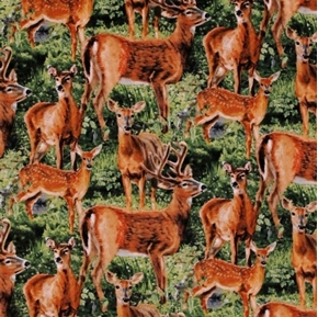 Wild Wings Cradle Rock Packed Deer Buck Doe In Grass Cotton Fabric