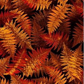 Open Air Ferns Foliage Nature Rust Orange Fern Plants Cotton Fabric