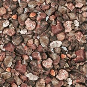 Open Air Rocks Pebbles Stones Auburn Brown Rock Cotton Fabric