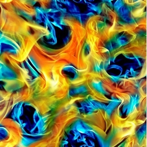 Open Air Smoke Bright Orange and Blue Flames Smoky Fire Cotton Fabric