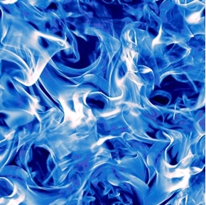 Open Air Smoke Bright Blue and White Flames Smoky Fire Cotton Fabric