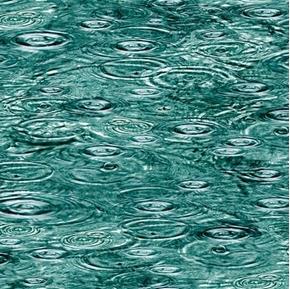 Open Air Raindrops on Water River Blue Green Rain Cotton Fabric