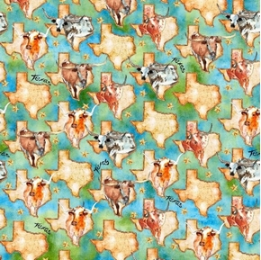 Longhorns Texas Map and Longhorn Cattle Cows Green Cotton Fabric