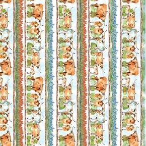 Longhorns Texas Longhorn Decorative Stripe Cattle Cows Cotton Fabric