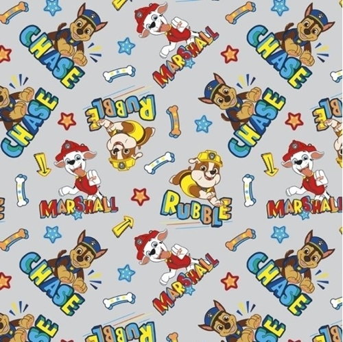 Nickelodeon Paw Patrol Chase Marshall and Rubble Gray Cotton Fabric