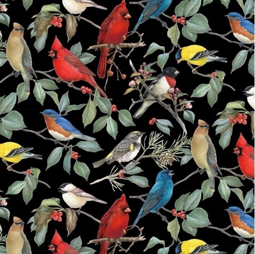 Birds and Hollies Songbirds Cardinal Chickadee Black Cotton Fabric
