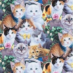 Precious Kittens Allover Cat Kitten Flowers Cotton Fabric