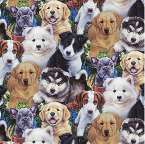 Precious Puppies Allover Husky Lab Samoyed Dog Cotton Fabric