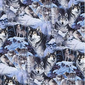 Wolfpack Allover Wild Wolves in the Snow Wolf Cotton Fabric