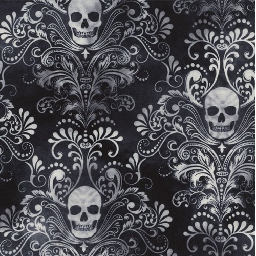 Wicked Skulls Charcoal Damask Halloween Spooky Cotton Fabric