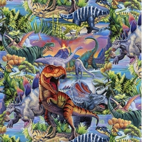Dino World Allover Wild Dinosaurs T-rex Brontosaurus Cotton Fabric