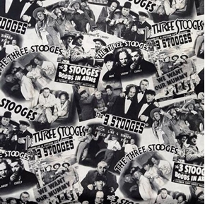 The Three Stooges Vintage Black and White TV Comedy Wide Cotton Fabric