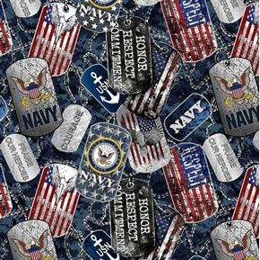 US Navy Military Dogtags Armed Service Dog Tags Cotton Fabric