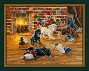 Good Sports Lab Dog Puppies Hunting Randy McGovern Fabric Panel