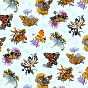 Butterflies and Moths Butterfly and Flowers Sky Blue Cotton Fabric