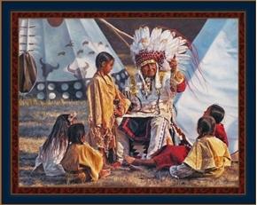 Buffalo Tales Native American Story Teller David Graham Fabric Panel