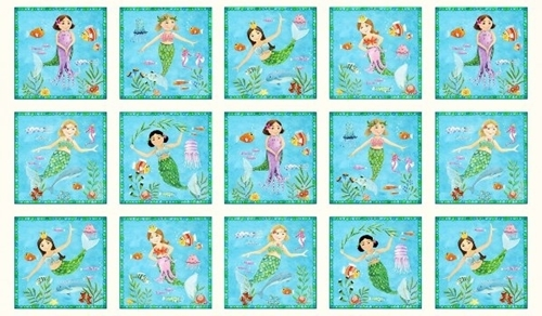 Little Mermaids Cute Mermaid Patches 24x44 Cotton Fabric Panel