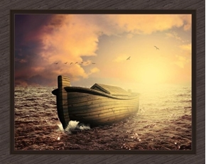 The Ark Noah's Ark Boat on the Ocean Large Cotton Fabric Panel